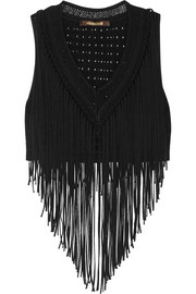 Roberto Cavalli Cropped fringed jersey top