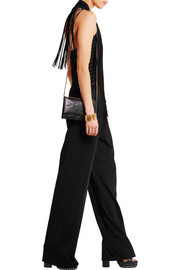 Roberto Cavalli Fringed pointelle-paneled stretch-jersey jumpsuit
