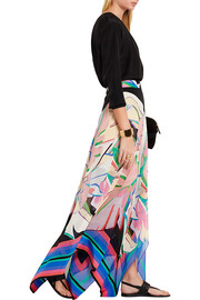 Roberto Cavalli Printed silk crepe de chine and silk-georgette maxi skirt