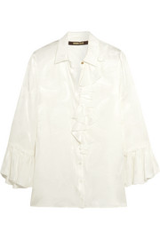 Roberto Cavalli Ruffled silk-satin shirt