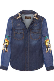 Embroidered denim shirt