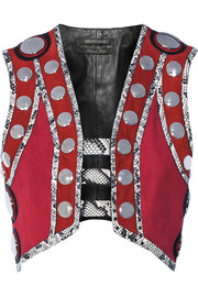 Embellished leather and elaphe-trimmed suede vest