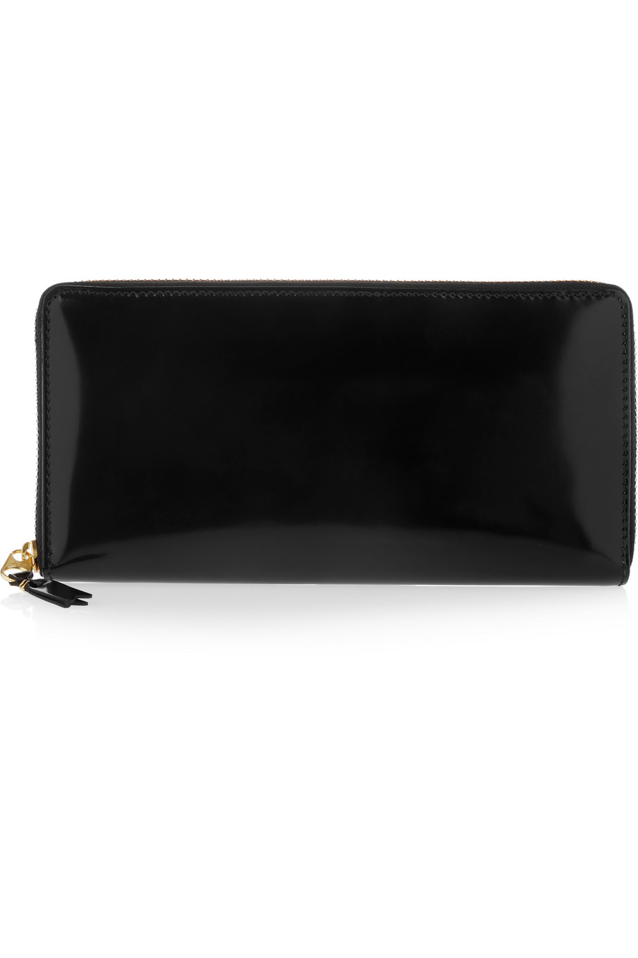 Glossed-Leather Continental Wallet, Comme Des Garçons, Black, Women's