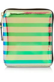 Striped iridescent leather wallet