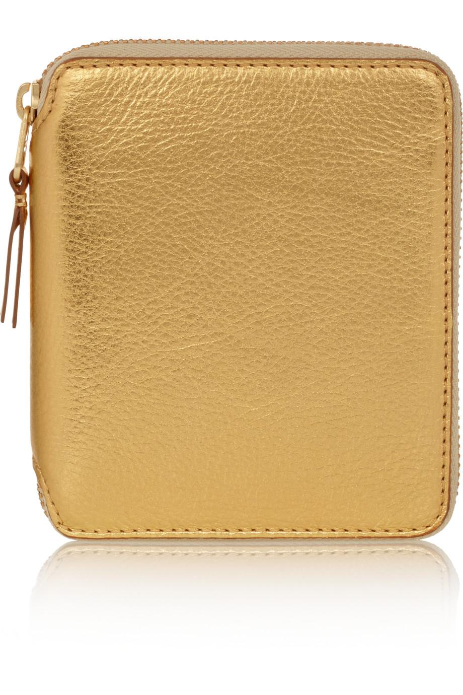 Metallic Textured-Leather Wallet, Comme Des Garçons, Gold, Women's