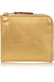 Metallic textured-leather wallet