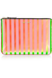 Striped iridescent leather pouch