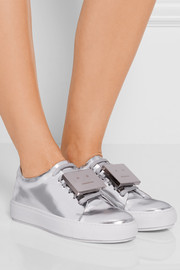 Adriana plaque-detailed metallic leather sneakers