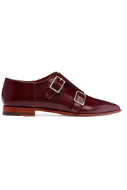 Masca monk-strap glossed-leather brogues