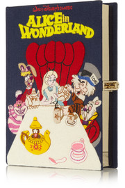 Alice in Wonderland embroidered cotton-canvas clutch
