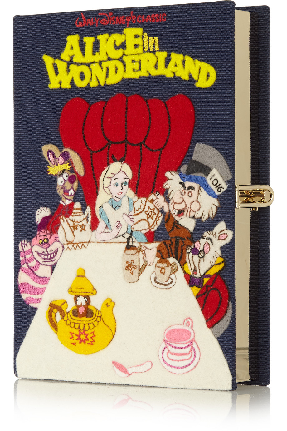 Olympia Le-Tan Alice in Wonderland Embroidered Cotton-Canvas Clutch, Navy, Women's