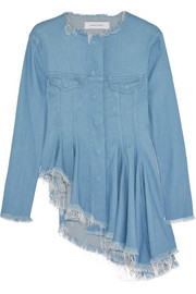 Asymmetric denim peplum jacket