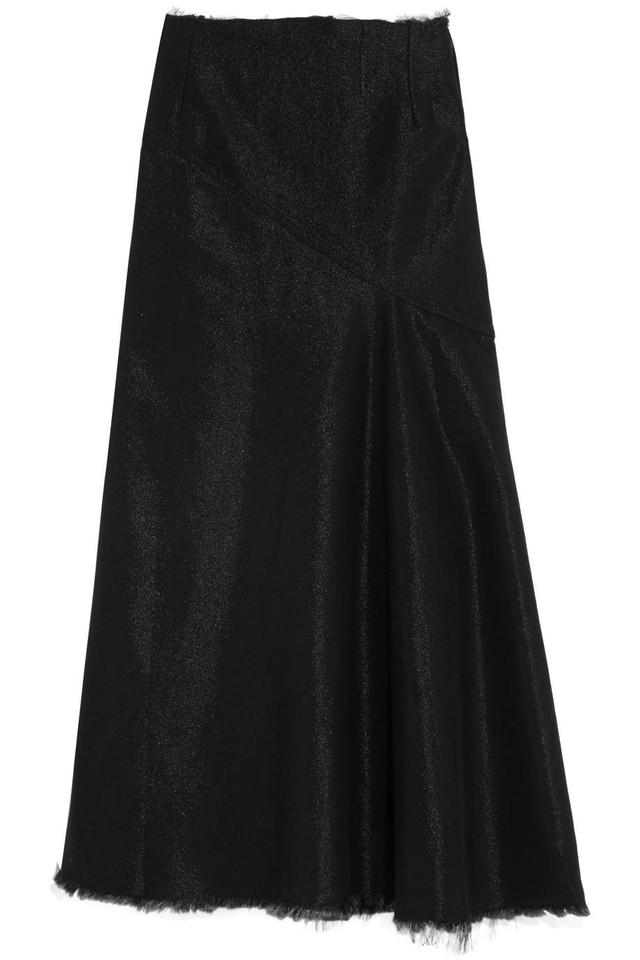 Frayed Metallic Denim Maxi Skirt, Marques' Almeida, Black, Women's, Size: 8