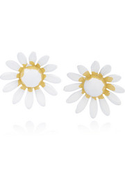 Daisy enameled silver-tone earrings