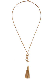 Saint Laurent Monogramme burnished gold-tone necklace