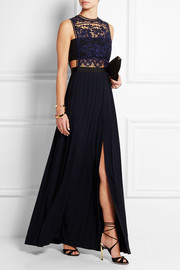 Guipure lace and georgette gown