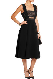 Leila guipure lace and crepe midi dress