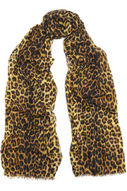 Saint Laurent Leopard-print wool scarf