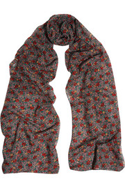 Saint Laurent Floral-print wool scarf