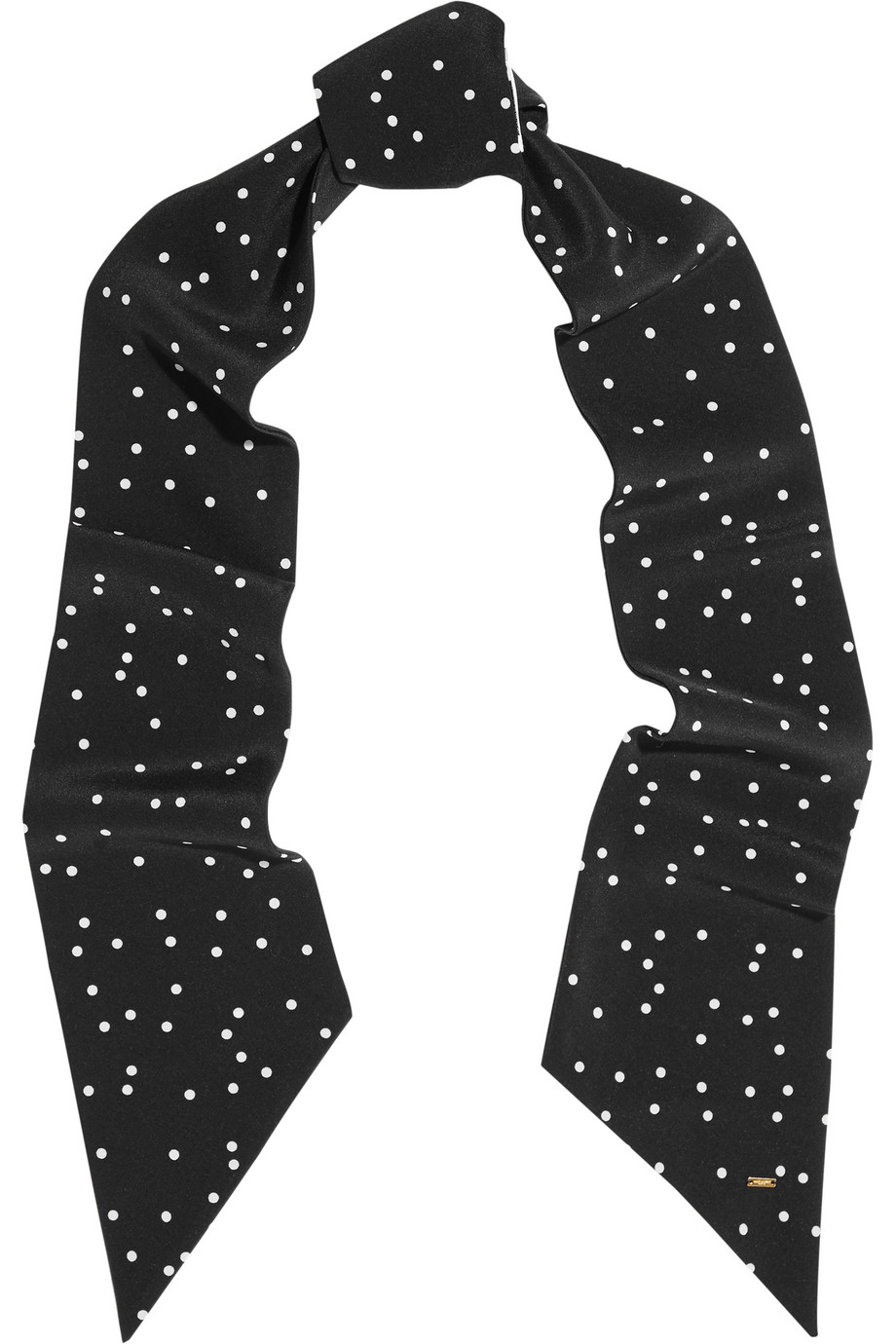 Saint Laurent Polka-Dot Silk-Georgette Scarf, Black, Women's, Size: One Size