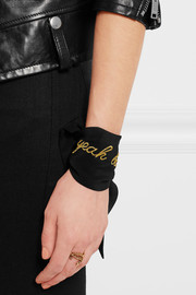 Yeah Baby embroidered silk crepe de chine cuff