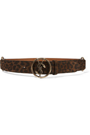 Saint Laurent Leopard-print suede belt