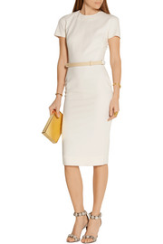 Victoria Beckham Belted wool and silk-blend crepe dress