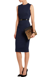 Victoria Beckham Belted stretch cotton-blend cady dress