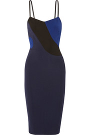 Victoria Beckham Leather-trimmed stretch-ponte dress