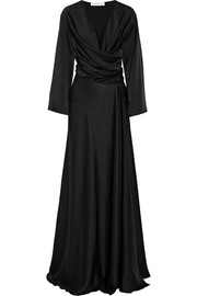 Satin-crepe wrap gown