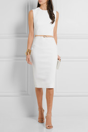 Belted stretch-ponte dress