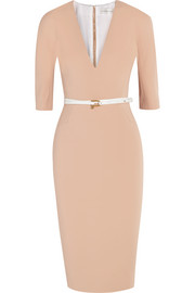 Victoria Beckham Belted stretch cotton-blend twill dress