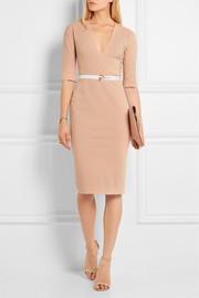 Belted stretch cotton-blend twill dress
