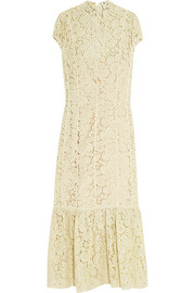 Fluted cotton-blend lace midi dress