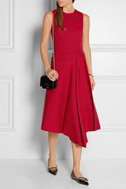 Victoria Beckham Wrap-effect wool-drill midi dress