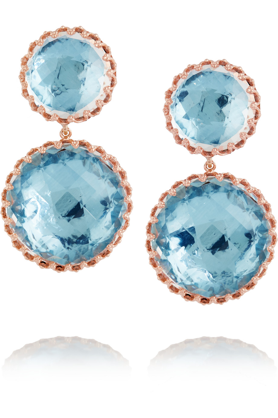 Larkspur & Hawk Olivia Convertible Rose Gold-Dipped Topaz Earrings, Rose Gold/Blue, Women's