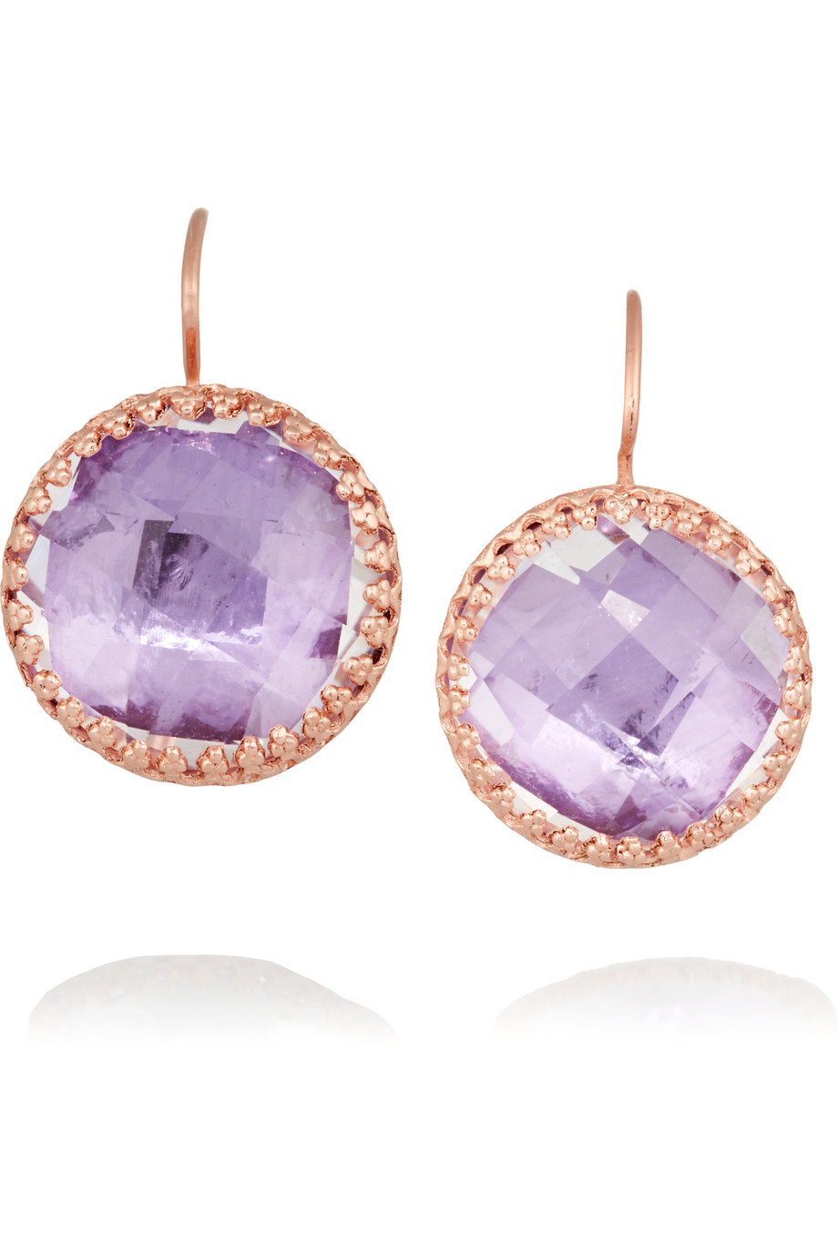 Larkspur & Hawk Olivia Button Rose Gold-Dipped Topaz Earrings, Rose Gold/Purple, Women's