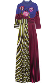 Carni pleated printed crepe de chine gown