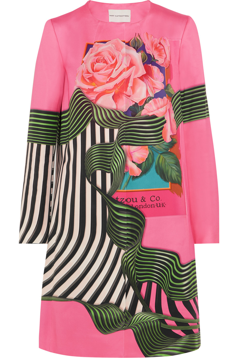 Mary Katrantzou Dash Floral-Print Cotton and Silk-Blend Coat, Bright Pink, Women's, Size: 8