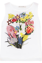 Floral-embroidered silk-organza top