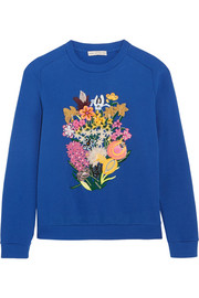 Calty embellished cotton-terry sweatshirt