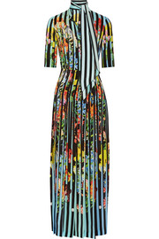 Acti printed washed-silk gown