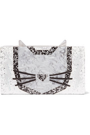 Minaudiere Cat glittered acrylic box clutch