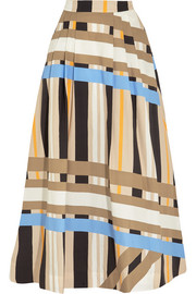 Pleated printed cotton-poplin maxi skirt