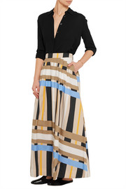 MSGM Pleated printed cotton-poplin maxi skirt