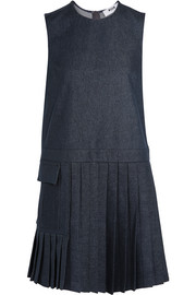 Pleated stretch-denim mini dress