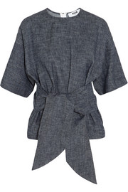 Belted cotton and linen-blend chambray top