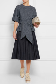 MSGM Belted cotton and linen-blend chambray top
