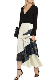 Esteban Cortazar Draped cady and basketweave skirt