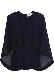 Cape-effect cady-trimmed silk-chiffon blouse